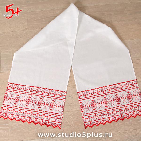 Рушник с красным орнаментом славянский