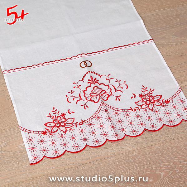 Полотенце свадебное с вышивкой цветами
