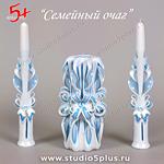 голубая с белым свеча