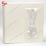 Классический белый свадебный альбом, декорированный жемчугом