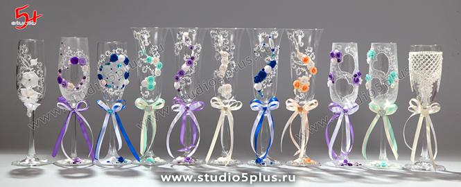 бокалы декорированные в цвет свадьбы: синие, мятные, фиолетовые, персиковые