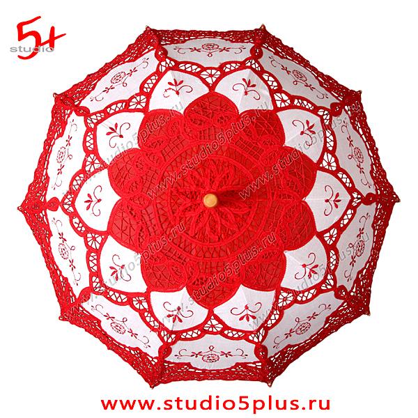 свадебный зонт красный кружевной