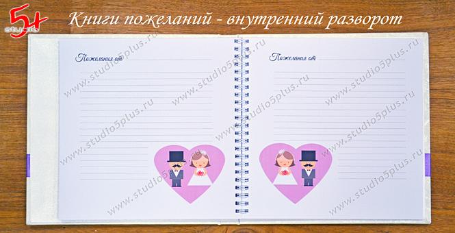 Книга пожеланий ручной работы внутри - листы для записей