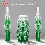 Набор из 3 свечей изумрудные