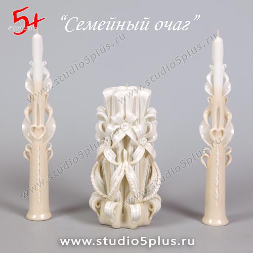 3 резные свечи Семейный очаг на свадьбу