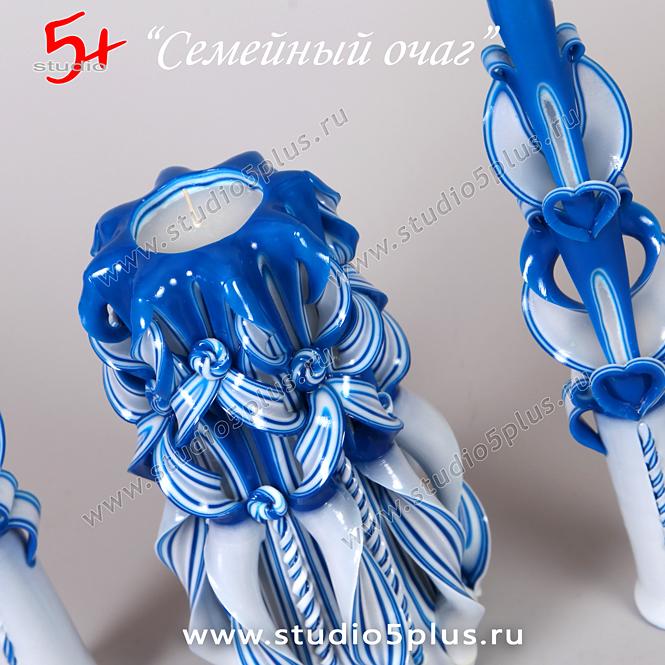 синяя свеча на свадьбу - ажурный узор, ручная работа