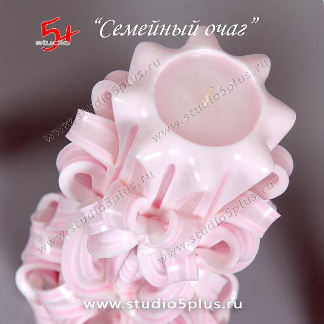 резная розовая свеча - ажурный узор