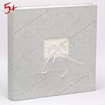 Альбом для свадебных фотографий серебристый, с колечками из жемчужинок