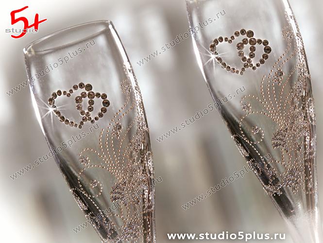 Фото свадебные бокалы со стразами