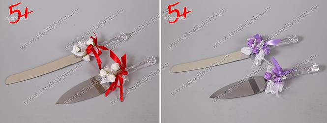 Набор для торта свадебный: лопатка и нож, декорированные цветочками