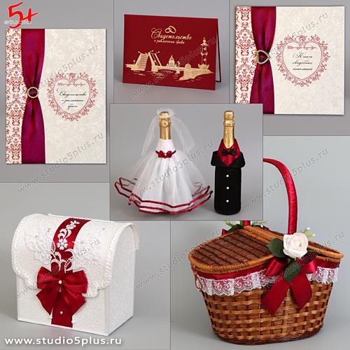 Фото набора для оформления свадьбы в цвете Марсала