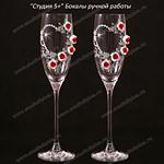 Декорирование бокалов на свадьбу росписью и розами из полимерной глины