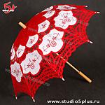 свадебный зонт красный